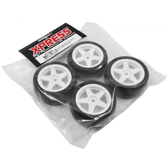 Mini 36R Rubber Pre-assembled Wheels 4pcs White For 1/10 M or K Chassis